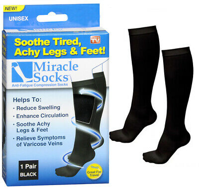 Miracle Socks Unisex Anti-Fatigue Compression Socks Great for Travel Black NEW!