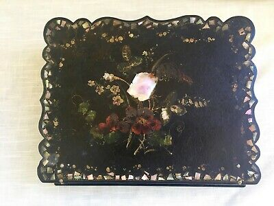 Antique Victorian Enamel/Lacquer Papier Mache Inlaid MOP Hand Painted Lap Desk