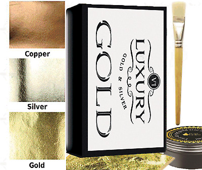300 sheets Gold silver copper Leaf Kit  Gold sheets 10ml Adhesive and Brush.
