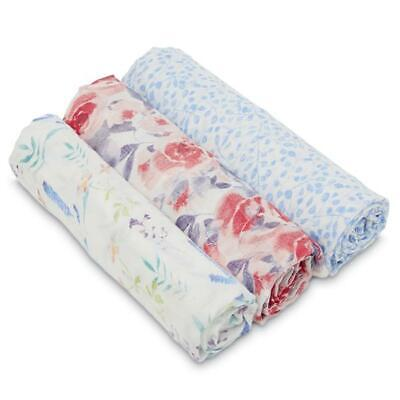 white label: watercolour garden silky soft bamboo muslin swaddles 3 pack