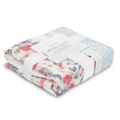 white label: watercolour garden - roses silky soft bamboo muslin dream blanket