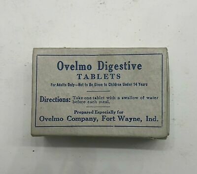 OVELMO DIGESTIVE TABLETS Cardboard Box Vintage Medical FOR SKIN CONDITION 1900's
