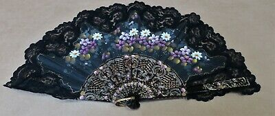 Vintage Black Hand Painted Fabric And Lace Fan