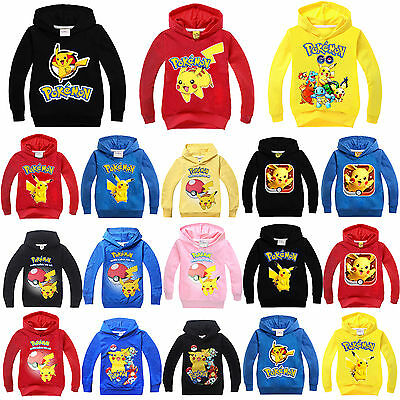 Pokemon Go Boys Girls Long Sleeve Hoodies Hooded Sweatshirt Shirts Tops Outwear