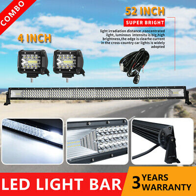 Curved 50inch 3000W CREE LED Light Bar +4'' Spot Flood Comb Work Fog Lamps +Wire