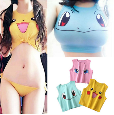 2019 Sexy Girls Cosplay Costume  Pikachu Sleeveless Tee Vest Crop Top