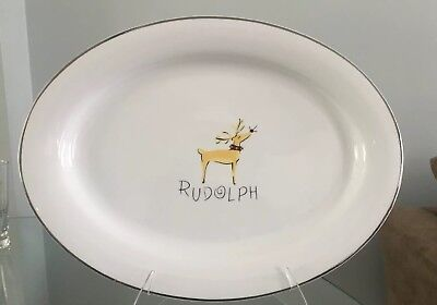 "Pottery Barn Reindeer LARGE OVAL Plate SERVING PLATTER Rudolph 16 7/8"" turkey"