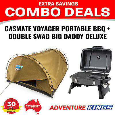 Adventure Kings Double Swag Big Daddy Deluxe +Gasmate Voyager Portable BBQ