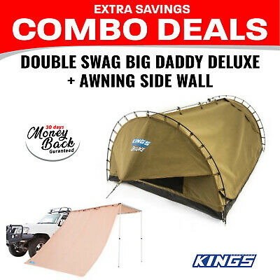 Adventure Kings Double Swag Big Daddy Deluxe + Adventure Kings Awning Side Wall