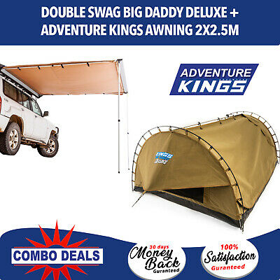 Adventure Kings 'Big Daddy Deluxe' Double Swag + Premium Side Awning - 2 x 2.5m