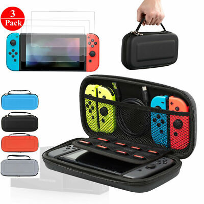 Storage Hard EVA Shell Carrying Case +3x HD Screen Protector for Nintendo Switch