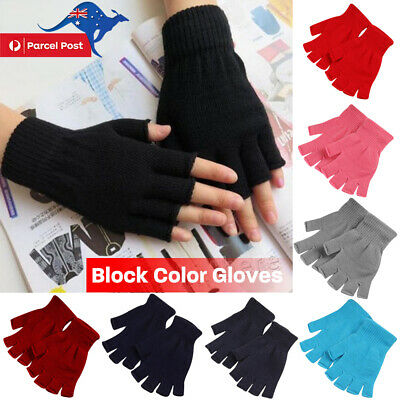 Men Women Cotton Half Finger Fingerless Gloves Stretch Knitted Mittens Pure HOT!