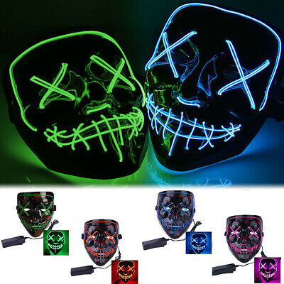 New 3-Modes Scary Mask Cosplay Led Costume Mask EL Wire Light Up The Purge Movie