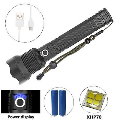 USB Rechargeable XHP70 LED Zoomable Flashlight Torch 3 Modes 2X 18650 Light Lamp