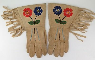 Native American Indian Sarcee gauntlets. PROVENANCE