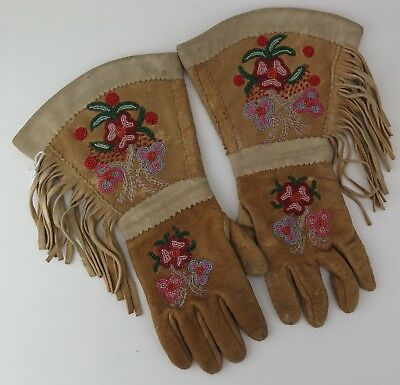 Native American Indian Chippewa gauntlets (floral). PROVENANCE