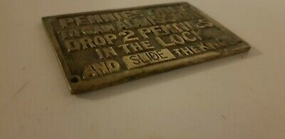 extremely RARE old toilet sign, solid brass plate, collectable