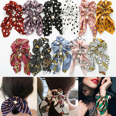 Floral Bow Hair Rope Tie Scarf Ponytail Holder Band Pearl Scrunchies Elastic 1PC