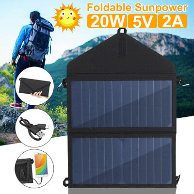 20W Portable Foldable Solar Panel USB Battery Charger Power Bank Phone