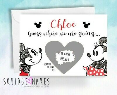 Disney scratchcard Guess where we going* Personalised Scratch off* mickey minnie