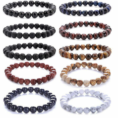 20pcs Men Women 8mm Lava Rock Chakra Beads Elastic Natural Stone Agate Bracelet