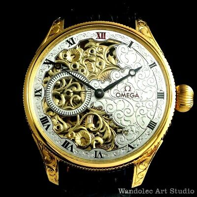 Vintage Mens Wrist Watch OMEGA Gold Skeleton Noble Design Men's Wristwatch Swiss