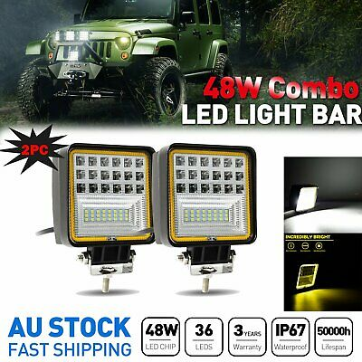 Pair CREE LED Work Light Square Driving Offroad Flood Lamp 4WD UTE Reverse Truck