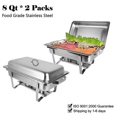 2 Pack Catering Stainless Steel Chafer Chafing Dish Sets 8 Qt Party Pack