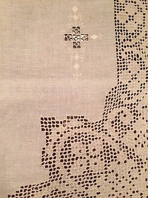 Vtg Antique Linen Beige Cutwork Crochet Embroidered Tablecloth W/ 4 Napkins