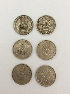 6 x One Shilling Coin 1932 1948 1951 1953 1956 1962