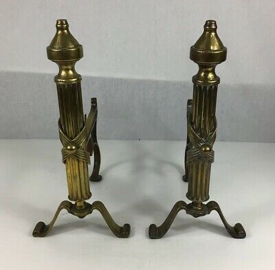 Antique Pair Of Brass Fire Dogs For Irons Fireside 31.5cm In Height