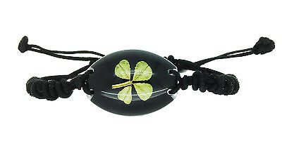 Lucky Real Four Leaf Clover Unisex Black Bracelet with Gift Box Guarantee