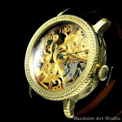 Agassiz Vintage Mens Wrist Watch Skeleton Noble Design Men's Wristwatch Swiss