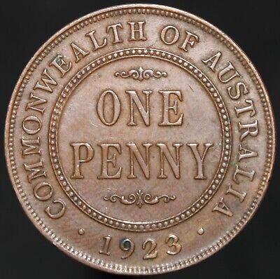 1923 | Australia George V One Penny | Bronze | Coins | KM Coins
