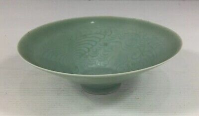 Celadon Glaze Chinese Bowl Incised Pattern To Inside Probably C20th 4.5cm Height