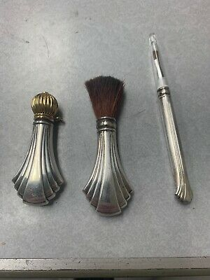 "Antique Victorian "" Towle "" Sterling Silver Perfume Bottle Vanity Brush Set"