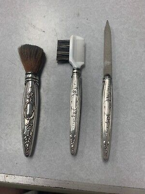 Vintage Towle Sterling Silver Old Master Vanity Brush Set & File 3 Pc