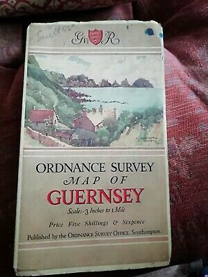 Pre WW11 Ordnance Survey Map of Guernsey Cloth Back GV1 Ministry Agr & Fisheries