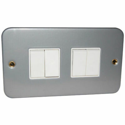Click CL019 Metal Clad 4 Gang 2 Way 10 Amp Light Switch & Back Box  Industrial