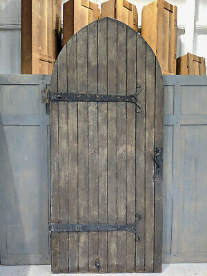 Large Oak Faced Antique Arched Church Door with Decorative Hinges