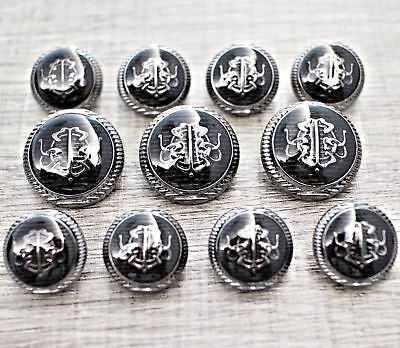 Black Enamel Metal Shank Blazer Button 11pcs 18/23mm Silver Bespoke Suit Set