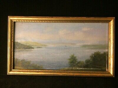 Antique Hudson River Oil Board Painting Monogrammed Dated 19th C Seascape
