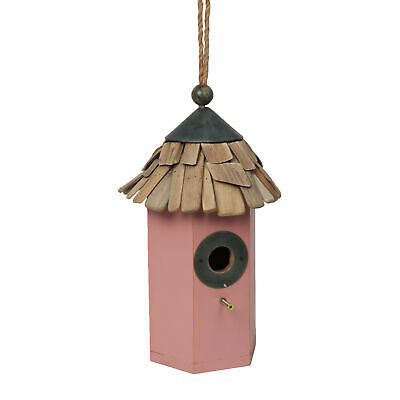 Hexagonal Pink Hanging Bird House Nest Box Wood Garden Widlife 35cm
