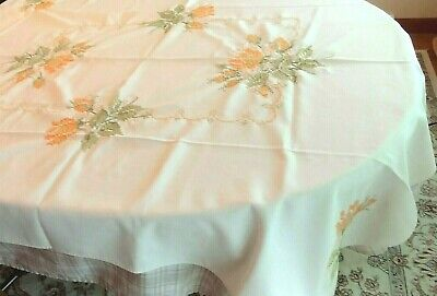"""Vintage Hand Embroidered Tablecloth Yellow Orange 68"""" x 52"""""""