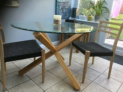 Oporto Round Dining Table Seats 4 with Solid Oak Legs and Tempered Glass - Wood
