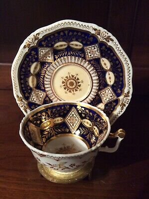 Antique Unmarked Cobalt Blue and Gold Coalport Tea Cup and Saucer
