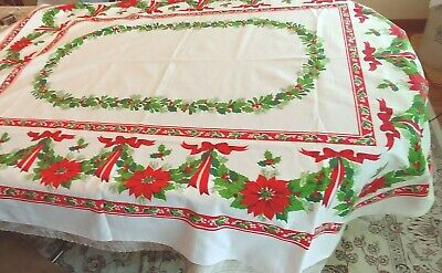 "Christmas Red Poinsettia Ribbon and Holly Tablecloth Christmas 68"" x 52"""