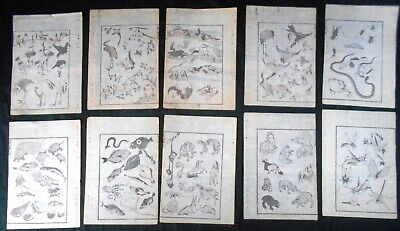 Lot of 10 Authentic 19th Century Hokusai Woodblock Prints: Animals