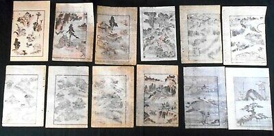 Lot of 12 Authentic 19th Century Hokusai Woodblock Prints: Houses