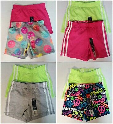 2 Pairs Girls Shorts Assorted Colors, Graphics Cotton Knit Blend XS 4/5